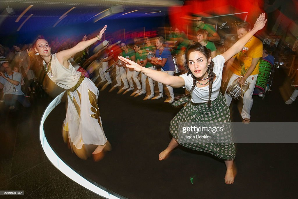 Brazilian percussion and dance group Batucada entertain during Paralympics New Zealand's '100 Days To Go' event at Te Papa Museum on May 30, 2016 in Wellington, New Zealand.