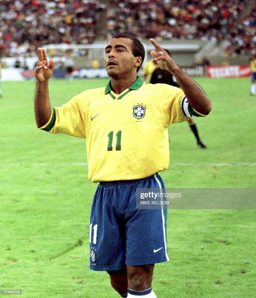 Brazilian player Romario celebrates his goal again