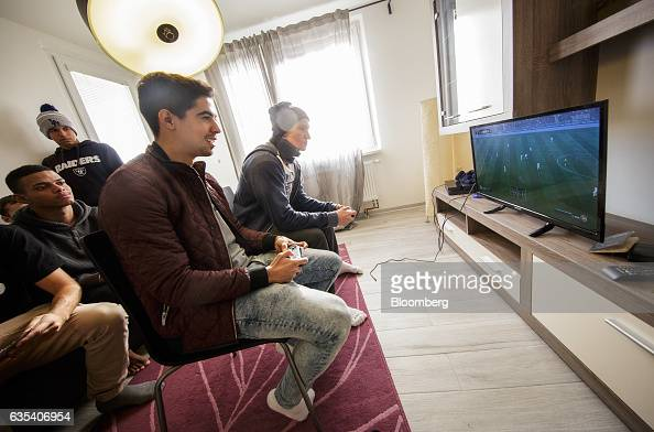 Brazilian players from football club Fluminense FC play a FIFA videogame on a Sony Corp Playstation in player accommodation in Samorin Slovakia on...