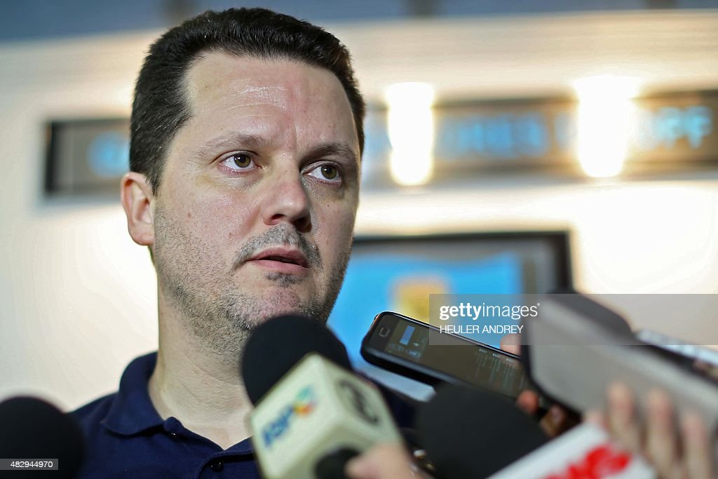 Brazilian police superintendent Igor de Paula speaks to the press at the Federal Police headquarters in Curitiba Brazil on August 4 after the arrival...