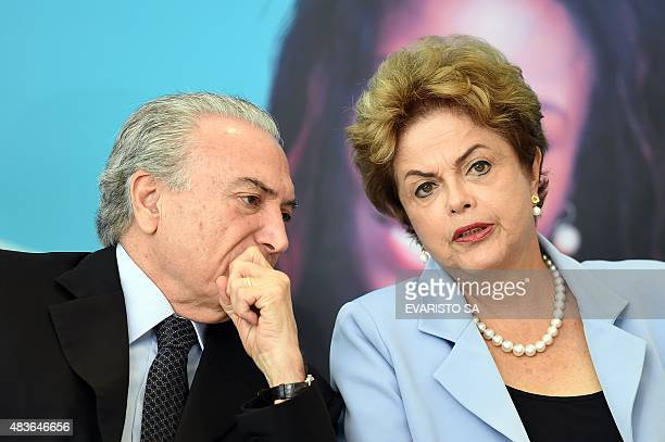 Brazilian President Dilma Rousseff and VicePresident Michel Temer attend the launching ceremony of the Investment Program in Energy at Planalto...