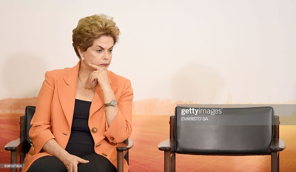 Brazilian President Dilma Rousseff attends the launching of the Agricultural and Livestock Plan for 2016/2017, at Planalto Palace in Brasilia, on May 4, 2016. Rousseff is fighting impeachment on allegations that she illegally borrowed money to boost public spending during her 2014 re-election campaign. / AFP / EVARISTO SA
