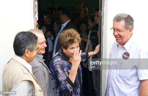 Brazilian President Dilma Rousseff gestures at a polling station in Porto Alegre during nationawide municipal elections on October 7 2012 Brazilians...