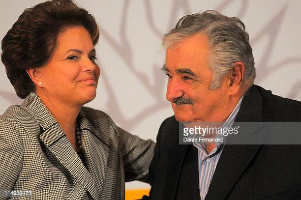 Brazilian president Dilma Rousseff in a press conference with Jose Mujica president of Uruguay during his five hours visit to Uruguay to analyze...