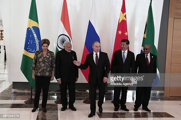 Brazilian President Dilma Rousseff Indian Prime Minister Narendra Modi Russian President Vladimir Putin Chinese President Xi Jinping and South...