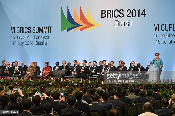 Brazilian President Dilma Rousseff makes a speach during the 6th BRICS Summit in Fortaleza Brazil on July 15 2014 Leaders of the BRICS group of...