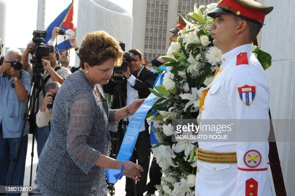 Brazilian President Dilma Rousseff participates in a wreathlaying ceremony at Cuban national hero Jose Marti's monument in Revolution Square in...