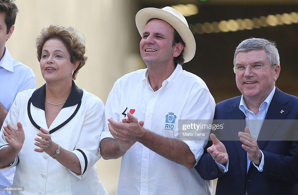 Brazilian President Dilma Rousseff Rio Mayor Eduardo Paes and International Olympic Committee President Thomas Bach gather while inaugurating the new...