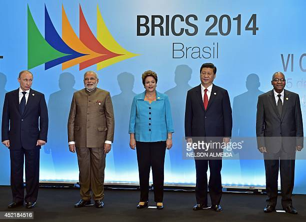 Brazilian President Dilma Rousseff Russia's President Vladimir Putin India's Prime Minister Narendra Modi China's President Xi Jinping and South...