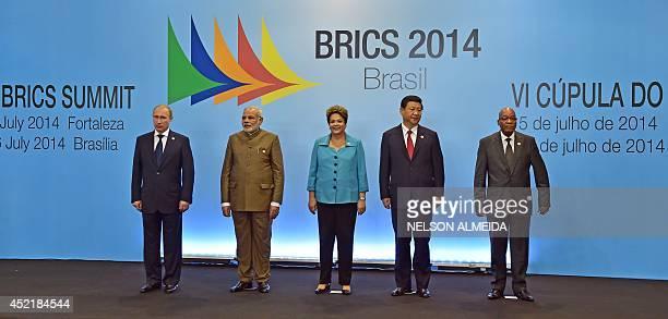 Brazilian President Dilma Rousseff Russia's President Vladimir Putin India's Prime Minister Narendra Modi China's President Xi Jinping and South...