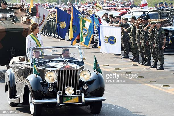 Brazilian President Dilma Rousseff takes part in a parade commemorating the Brazilian Independence Day in Brasilia on September 7 2015 AFP PHOTO /...