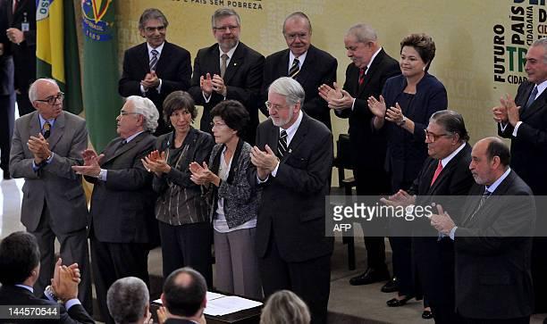 Brazilian President Dilma Rousseff VicePresident Michel Temer former presidents Luiz Inacio Lula da Silva and Jose Sarney and other authorities...