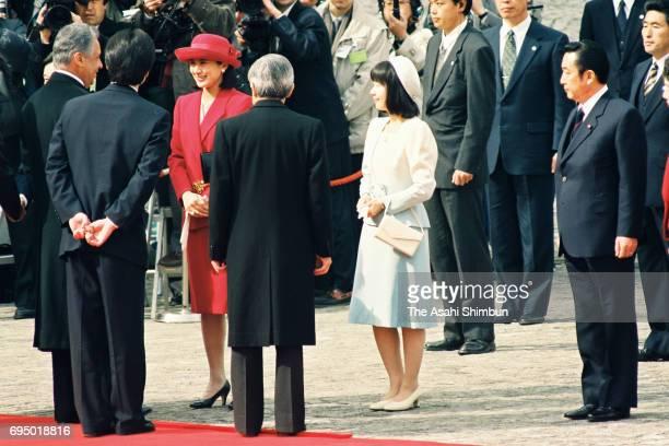 Brazilian President Fernando Henrique Cardoso is introduced Crown Princess Masako Princess Sayako and Prime Minister Ryutaro Hashimoto by Emperor...