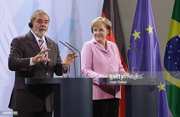 Brazilian President Luiz Inacio Lula da Silva and German Chancellor Angela Merkel speak to the media after talks on December 3 2009 in Berlin Germany...