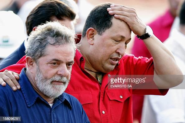 Brazilian President Luiz Inacio Lula da Silva and his Venezuelan counterpart Hugo Chavez during a visit to the Abreu e Lima Oil Refinery works on...