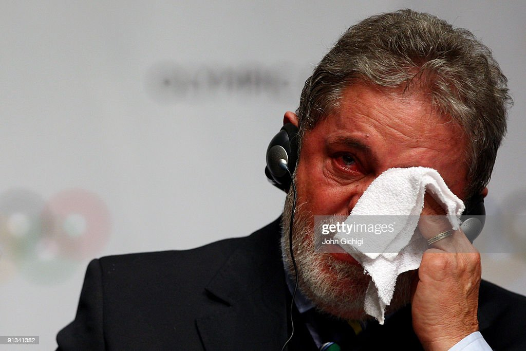 Brazilian President <a gi-track='captionPersonalityLinkClicked' href=/galleries/search?phrase=Luiz+Inacio+Lula+da+Silva&family=editorial&specificpeople=211609 ng-click='$event.stopPropagation()'>Luiz Inacio Lula da Silva</a> cries at the contract signing ceremony after Rio De Janeiro won the vote to stage the 2016 Olympic Games at the Bella Centre on October 2, 2009 in Copenhagen, Denmark. After eliminating Chicago, Tokyo and Madrid, International Olympic Committee members selected the Brazilian city as site of the 2016 Summer Games. This will be the first time the Olympics will be held in South America.