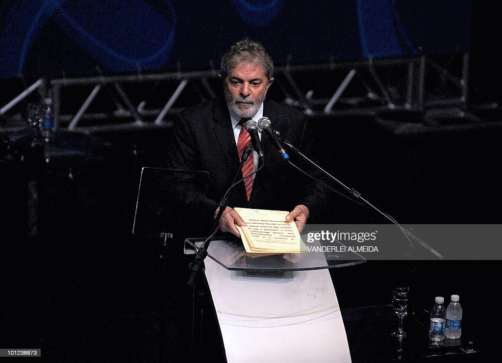 Brazilian president Luiz Inacio Lula da Silva discourses during the opening session of the Alliance of Civilizations Third Forum in Rio de Janeiro, Brazil 28 May, 2010.