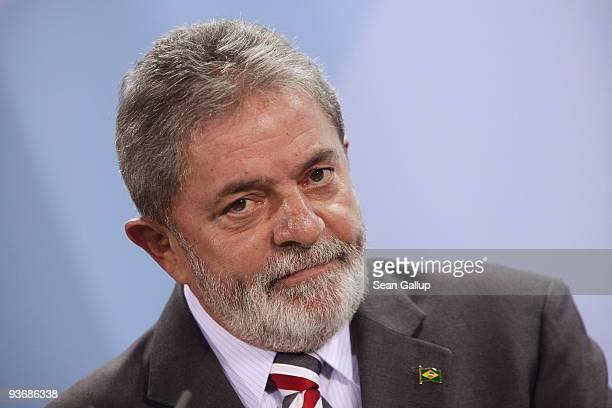 Brazilian President Luiz Inacio Lula da Silva speaks to the media after talks with German Chancellor Angela Merkel on December 3 2009 in Berlin...