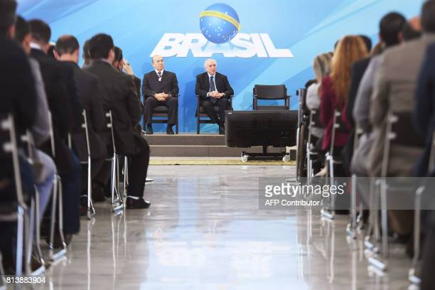 Brazilian President Michel Temer and his Chief of Staff Eliseu Padilha attend a public health investment announcement event at Planalto Palace in...