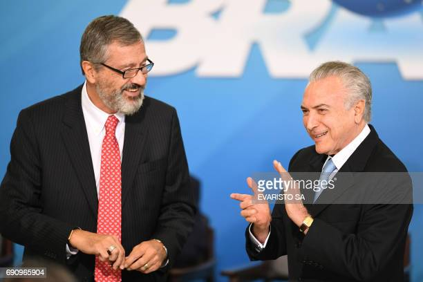 Brazilian President Michel Temer and the new Minister of Justice Torquato Jardim are pictured during his inauguration ceremony at the Planalto Palace...