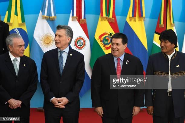 Brazilian President Michel Temer Argentine President Mauricio Macri Paraguayan President Horacio Cartes and Bolivia's Evo Morales arrive to pose for...
