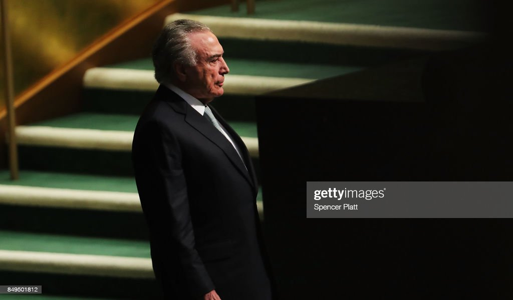 Brazilian President Michel Temer arrives to speak to world leaders at the 72nd United Nations (UN) General Assembly at UN headquarters in New York on September 19, 2017 in New York City. Topics to be discussed at this year's gathering include Iran, North Korea and global warming.