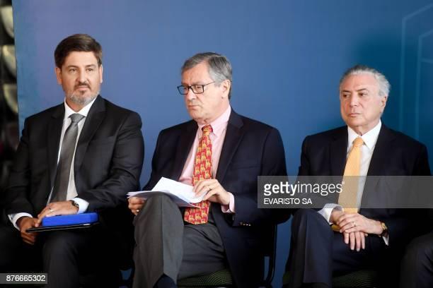 Brazilian President Michel Temer Brazil's Minister of Justice Torquato Jardim and the new Director General of the Brazilian Federal Police Fernando...
