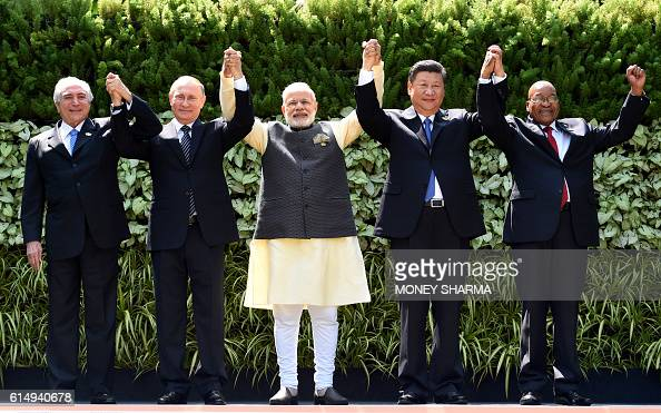 TOPSHOT Brazilian President Michel Temer Russian President Vladimir Putin Indian Prime Minister Narendra Modi Chinese President Xi Jinping and South...