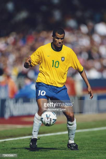 Brazilian professional footballer and forward with the Brazil national football team Rivaldo pictured with the ball during the International Friendly...