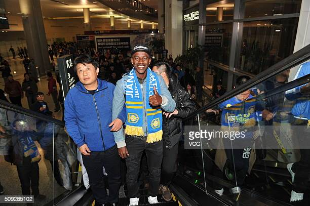 Brazilian professional footballer Ramires Santos do Nascimento arrives at Nanjing Lukou International Airport on February 9 2016 in Nanjing China...