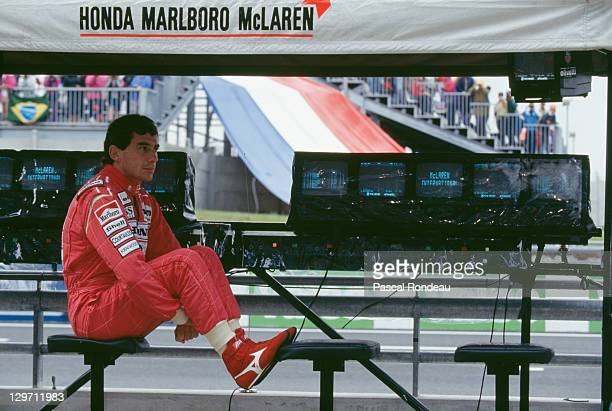 Brazilian racing driver Ayrton Senna at the French Grand Prix at the Magny Cours circuit Paris 5th July 1992 Senna retired from the race with...
