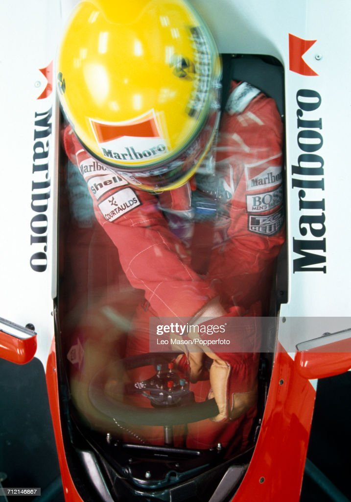 Brazilian racing driver Ayrton Senna (1960-1994) driving a Honda Marlboro McLaren McLaren MP4/6 Honda RA121E 3.5 V12 racing car during testing in Jerez, Spain, circa February 1991.