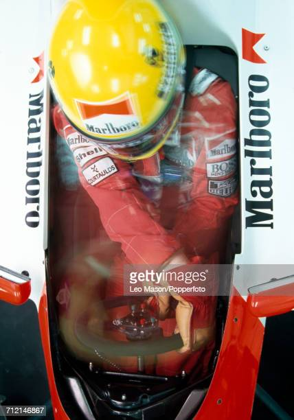 Brazilian racing driver Ayrton Senna driving a Honda Marlboro McLaren McLaren MP4/6 Honda RA121E 35 V12 racing car during testing in Jerez Spain...