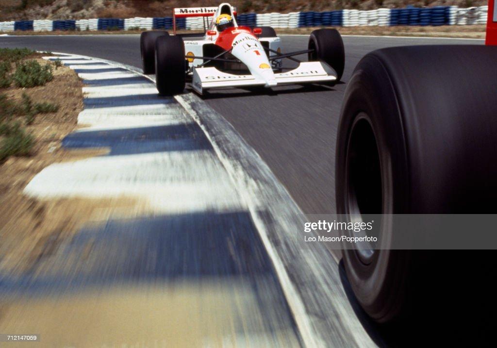 Brazilian racing driver Ayrton Senna (1960-1994) driving a Honda Marlboro McLaren McLaren MP4/6 Honda RA121E 3.5 V12 racing car, seen from an in-car camera during testing in Jerez, Spain, circa February 1991.