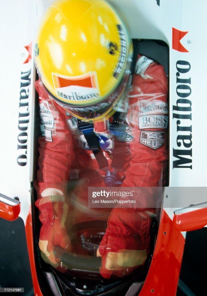 Brazilian racing driver Ayrton Senna (1960-1994) driving a Honda Marlboro McLaren McLaren MP4/6 Honda RA121E 3.5 V12 racing car during testing in Jerez, Spain, circa February 1991.