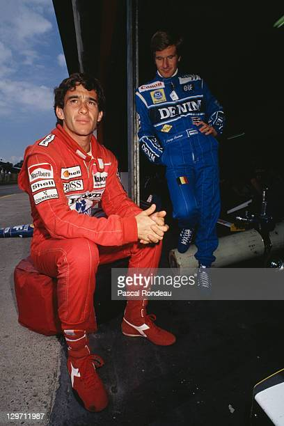 Brazilian racing driver Ayrton Senna with Belgian driver Thierry Boutsen during Formula One testing at the Imola circuit in San Marino Italy 1990