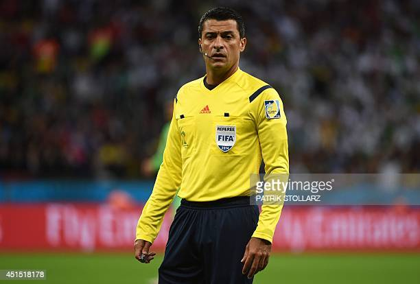 Brazilian referee Sandro Meira Ricci during a Round of 16 football match between Germany and Algeria at BeiraRio Stadium in Porto Alegre during the...