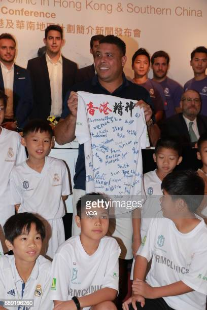 Brazilian retired footballer Ronaldo attends a commercial event on May 27 2017 in Hong Kong China