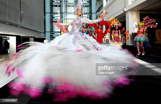 Brazilian Rio Carnival dancer Marcella Alvez performs at a media conference on March 17 2011 in Cape Town South Africa The dancers are performings as...