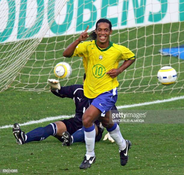 Brazilian Ronaldinho Gaucho celebrates after scoring a second penalty against Paraguay during their FIFA World Cup Germany 2006 South American...