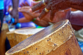 Ethnic drums used in religious festival in Lagoa Santa, Minas Gerais near the fire so that the leather stretch and adjust the sound of the instrument