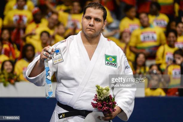 Brazilian silver medalist Rafael Silva poses after the medal ceremony for the men's 100kg category during a World Judo Championships at Gymnasium...