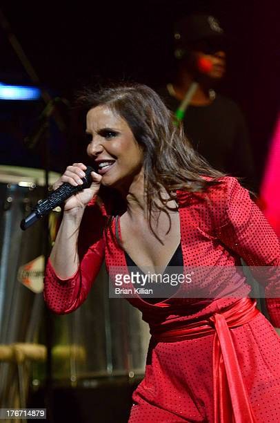Brazilian singer Ivete Sangalo performs during the Real Fantasia Tour 2013 at Prudential Center on August 17 2013 in Newark New Jersey