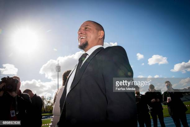 Brazilian soccer legend Roberto Carlos is seen at a press conference at Lakeside Stadium on May 29 2017 in Melbourne Australia South Melbourne FC is...