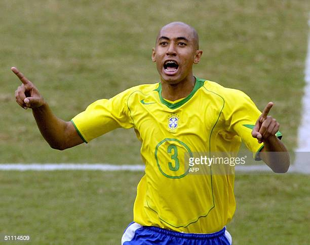 Brazilian soccer player Luisao celebrates his goal against Argentina 25 July 2004 during their Copa America 2004 final at the Nacional stadium in...