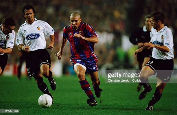 Brazilian soccer player Ronaldo playing for FC Barcelona during a Liga match against Valencia | Location Barcelona Spain