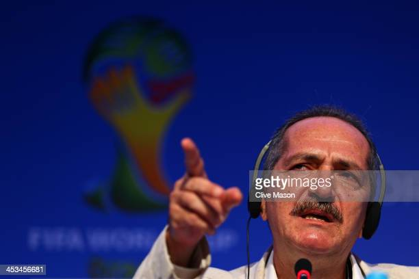 Brazilian Sports Minister Aldo Rebelo speaks during a press conference during a media day ahead of the Final Draw for the 2014 FIFA World Cup at...