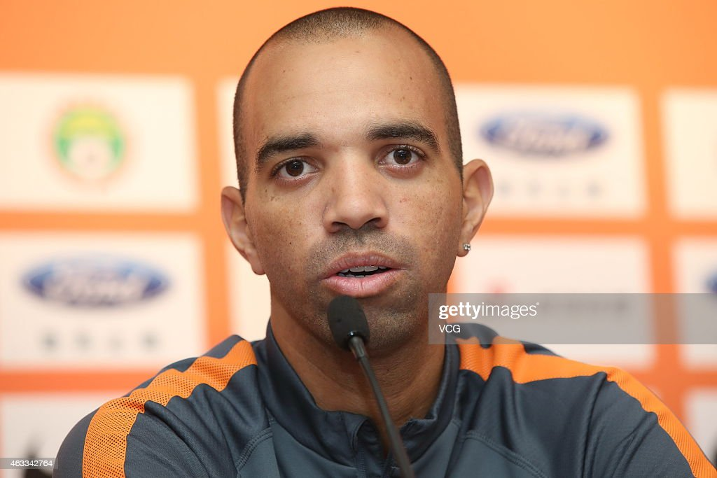 Brazilian striker <a gi-track='captionPersonalityLinkClicked' href=/galleries/search?phrase=Diego+Tardelli&family=editorial&specificpeople=805528 ng-click='$event.stopPropagation()'>Diego Tardelli</a> of Shandong Luneng Taishan F.C. attends a press conference at Yellow Dragon Sports Centre on February 13, 2015 in Hangzhou, China.