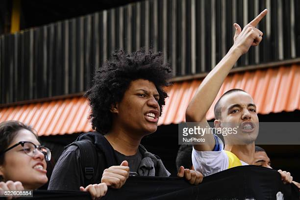 Brazilian students make protest in the city of Sao Paulo for improvements in education and against the Mafia school meals April 20 2016
