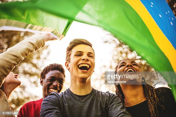 Brazilian supporter enjoying togetherness